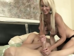 mature wench gives him a peculiar treat for his