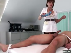 dominatrix makes her bondman cum on himself