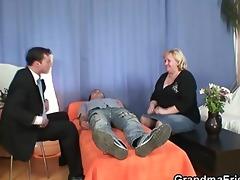 blond granny gets slammed by dicks