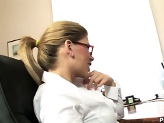 highly sexy secretary brooklyn lee teases on her