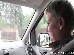 aged hot hitchhiker giving oral to favourable