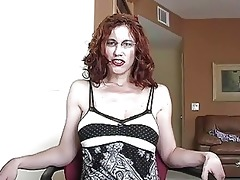 aroused redhead momma with glasses receives her