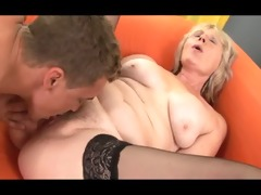 lewd blond gilf trades oral-service in advance of