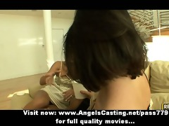 lesbo trio with dark brown beauties undressing