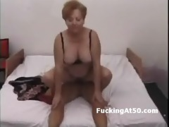 chunky old granny rides boys big wang in bedroom