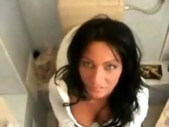 sexy mommy gives heads on the lavatory