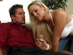 pleasing busty golden-haired wife engulfing cock