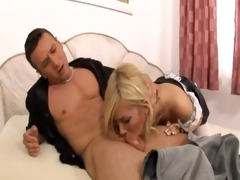 blue maid receives screwed in her constricted