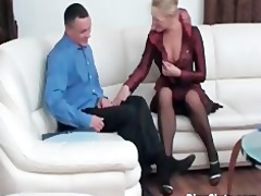 pleasing aged golden-haired gets slit drilled