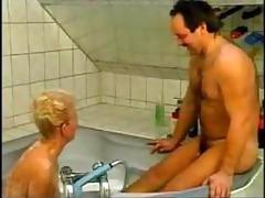 wicked german grandma drilled in bathtub