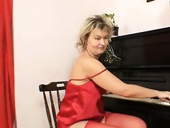 older mother i in red nylons grabs a large sex