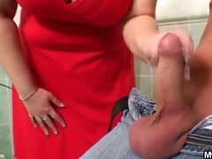 overweight mother-in-law helps him cum