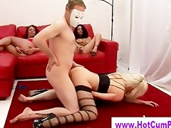 three-some of hawt sluts fuck masked guy down on