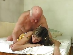 sexy golden-haired bunny shags with old aged hunk
