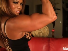 aged male bodybuilder dd plays with her large