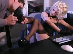busty blond secretary fucking in stockings and