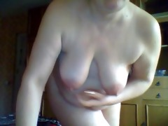 excited older wife in webcam