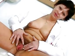 hot mother i in nurse uniform stretching bushy