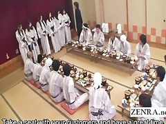 subtitled japanese milfs group foreplay dining