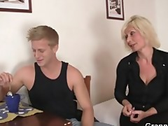 old golden-haired rides his stiff dick