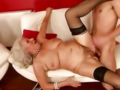 lusty busty granny fucking with a guy
