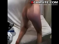 thin angel masturbates with fingers and toy