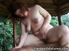 bulky aged outdoors fucking