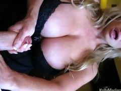 mega titted wife giving a sexy handjob