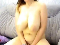 chunky brunette with biggest bazookas on cam