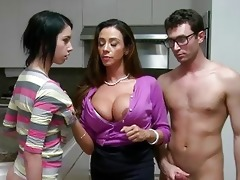 stepmom milf lets lad facial ball cream his gf