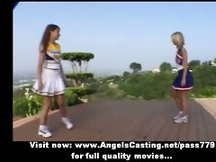 breathtaking hot blond and redhead cheerleader