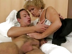 granny in maid outfit fucking with a chap