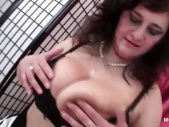excited aged teasing her titties and wet crack in