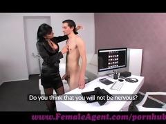 femaleagent. virgin receives expert guidance from
