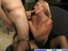 golden-haired older kathy jones enjoys engulfing
