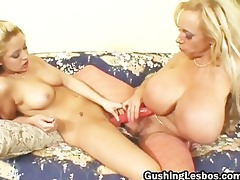 mature lesbian doxy acquires fucked with sextoy