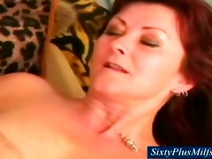 granny lets her firm milk shakes jiggle as she is