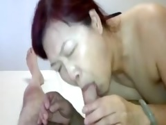 oriental hooker fucked, takes cum in face hole