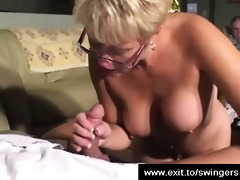 swinger milf tracey sucking and stroking a