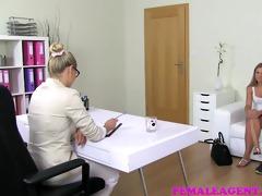 femaleagent horny milf agent borrows hot blond