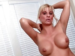stylish blond d like to fuck undresses and pokes