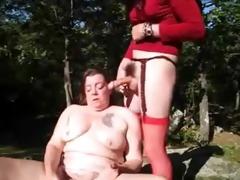 old slut having pleasure with strangers outdoor