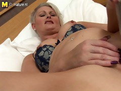pleasant british mother works her old pussy hard