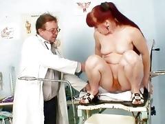 older olga has her redhead shaggy twat gyno specu