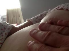 rubbing the wifes riple nipp