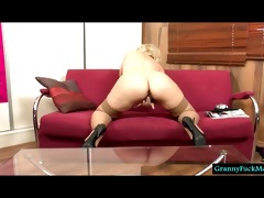 blond granny filmed in solo act