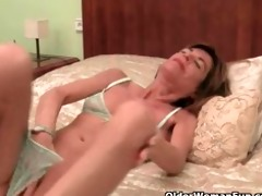 very slim granny disrobes off and masturbates her