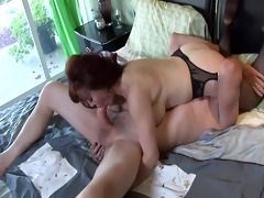 large boobed redhead fucking in thigh high