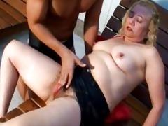 lusty blond older gives fantastic oral-job