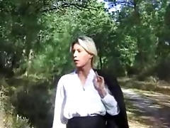 blond wife drilled in forest